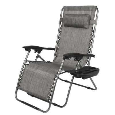 Oversized Zero Gravity Metal Outdoor Textiliene Chair with Cup Holder and Headrest
