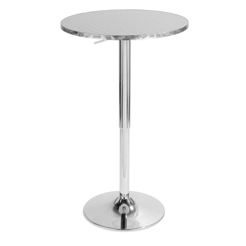 Lumisource Bistro Round Silver Adjule Bar Table Bt Tlbistro23rn The Home Depot