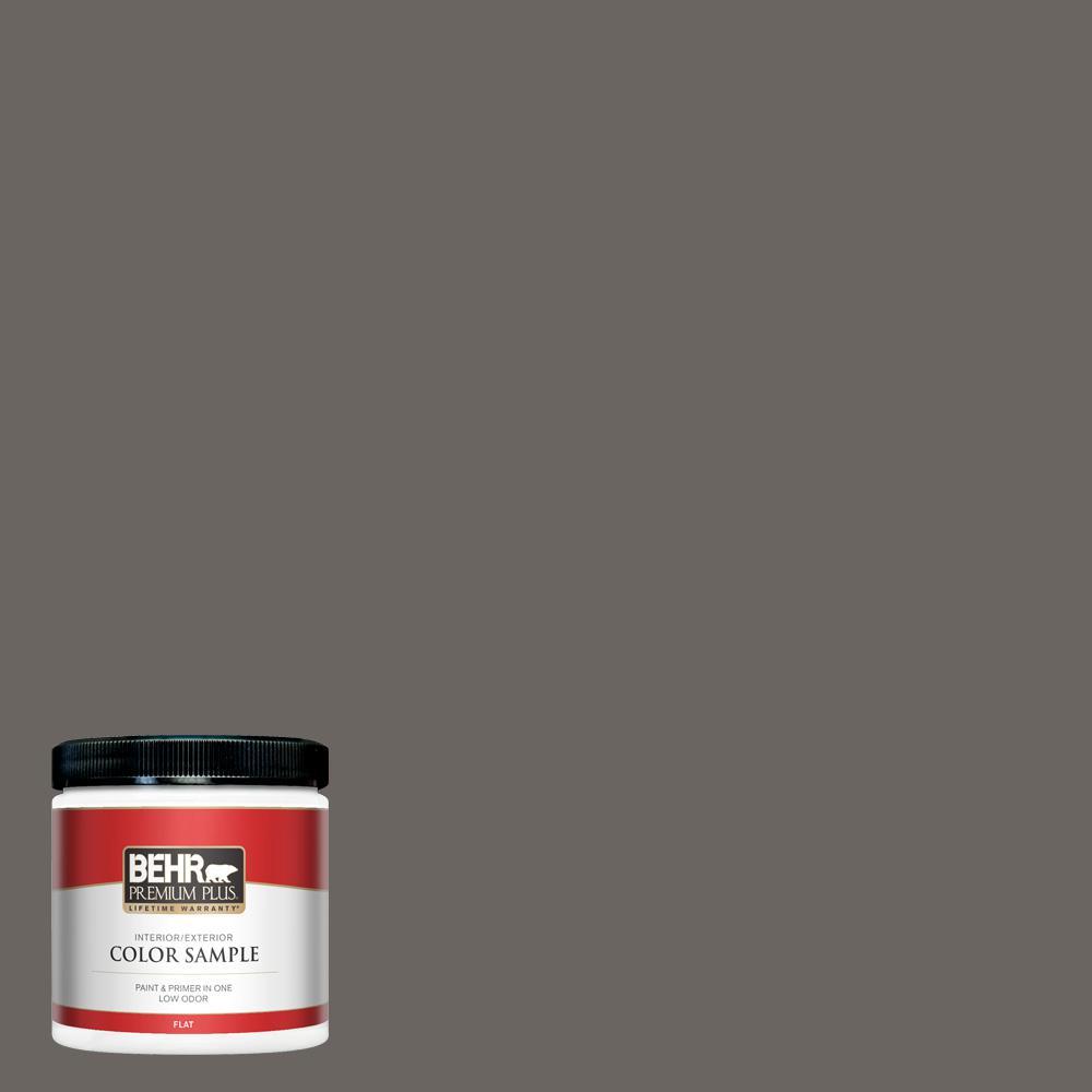 BEHR PREMIUM PLUS 8 oz. #790F-6 Trail Print Flat Interior/Exterior Paint and Primer in One Sample