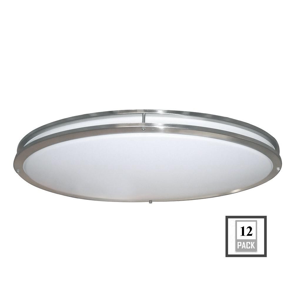 EnviroLite Low Profile LED 32 in. Brushed Nickel/White Ceiling Flushmount (12-Pack)