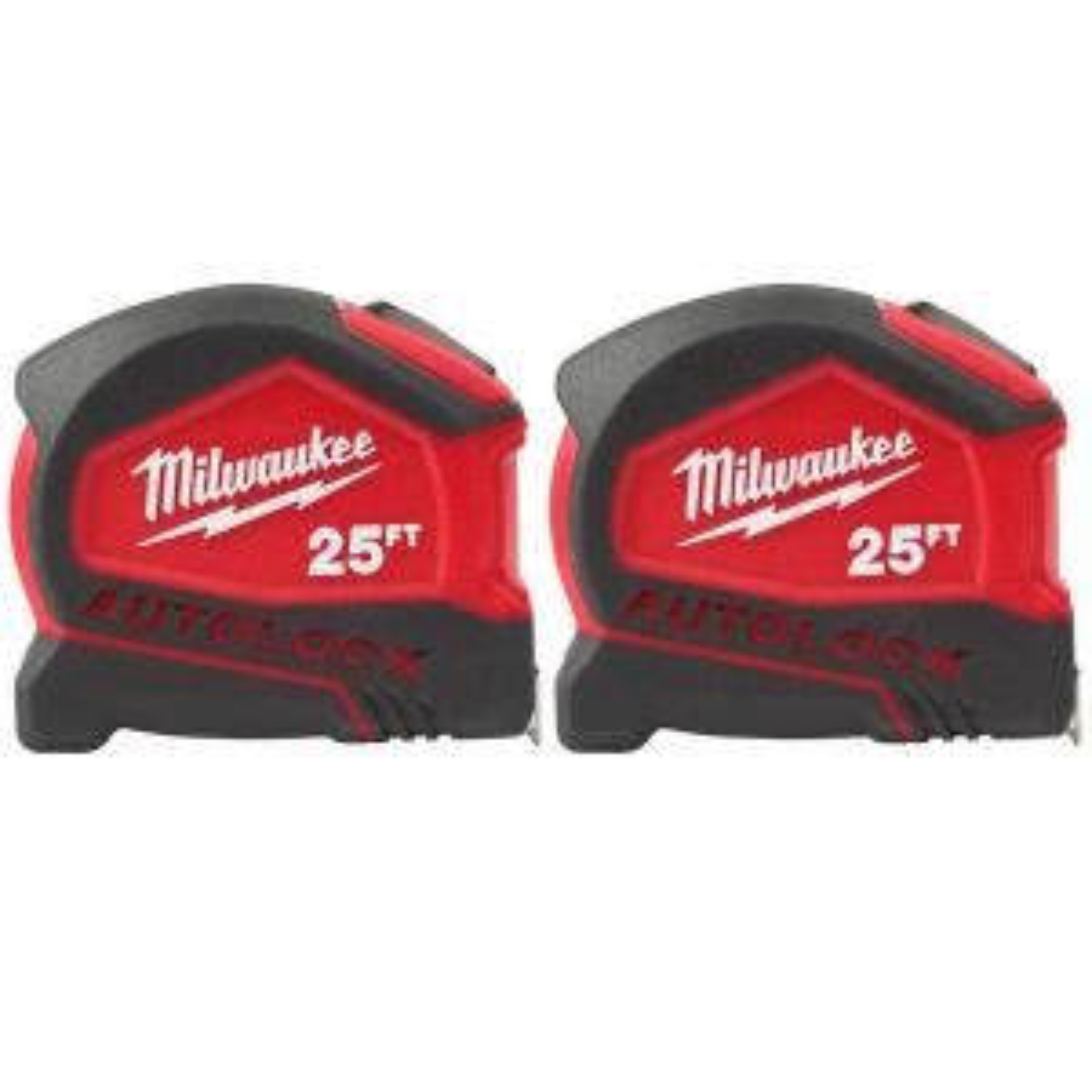 2-Pack Milwaukee 25 ft. Compact Auto Lock Tape Measure