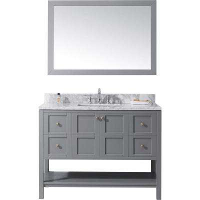 Winterfell 48 in. W x 22 in. D Vanity in Grey with Marble Vanity Top in White with White Basin and Mirror