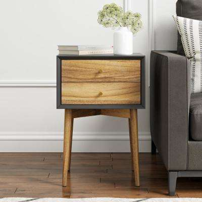Harper Black and Brown 2-Drawer Wooden Side Table