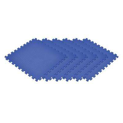 Blue 24 in. x 24 in. x 0.47 in. Foam Interlocking Floor Mat (6-Pack)