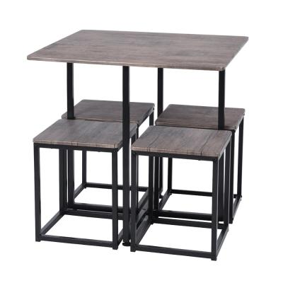 Gray 5-Piece Solid Wood Dinning Table Set with Armless Chairs in Black Metal Tube