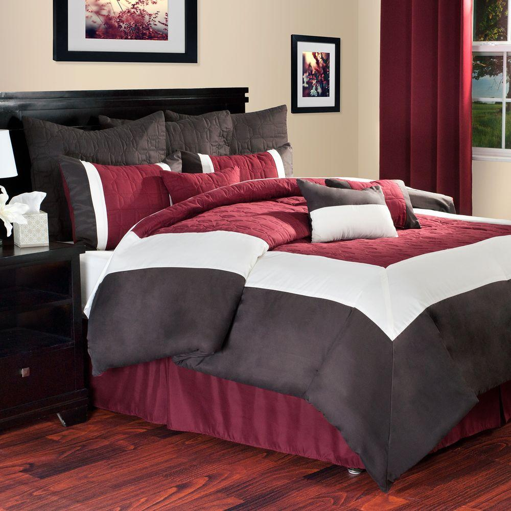 Hotel 10 Piece Burgundy King Comforter Set