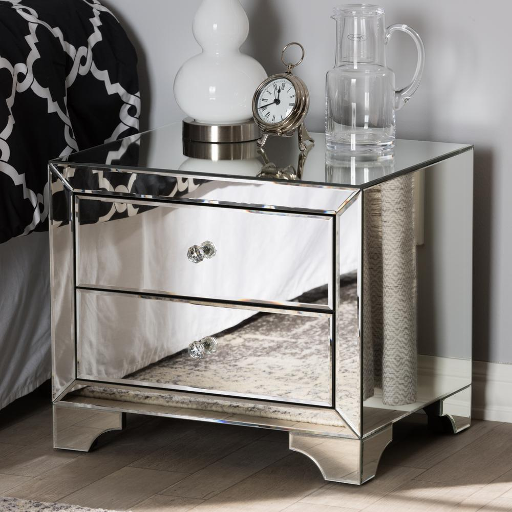 Baxton studio farrah 2 drawer silver metallic nightstand
