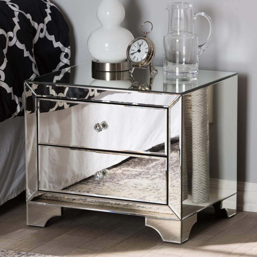 Farrah 2-Drawer Silver Metallic Nightstand