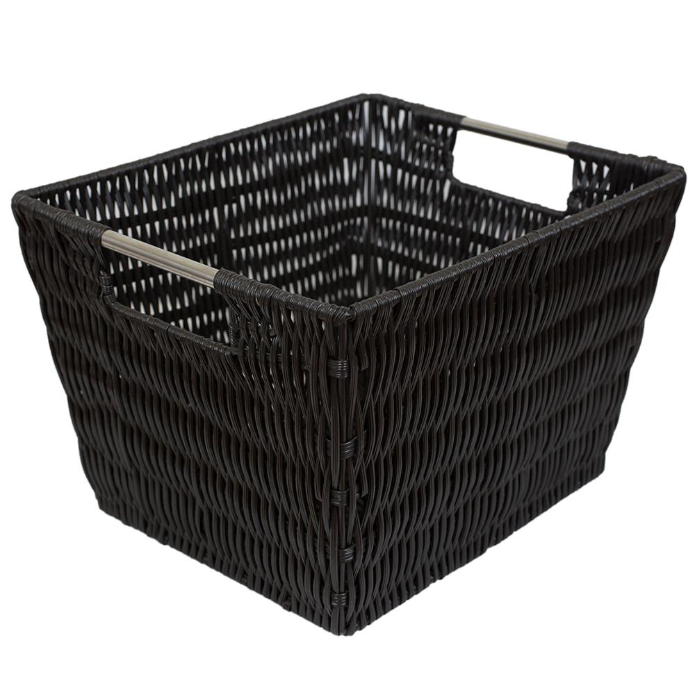 Intricate Decorative Weave 10 in. x 8 in. Espresso Basket