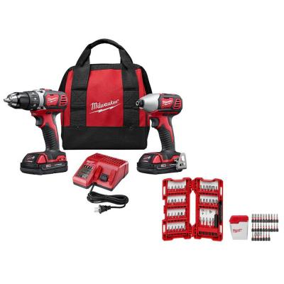 M18 18-Volt Lithium-Ion Cordless Drill Driver/Impact Driver Combo Kit (2-Tool) with SHOCKWAVE Driver Bit Set (70-Piece)