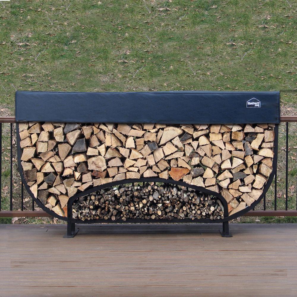 ShelterIT 8 ft. Firewood Storage Log Rack with Kindling Holder and Cover Round Leg Steel