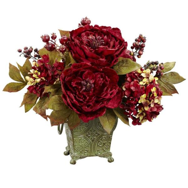 Nearly Natural 14 in. H Red Peony and Hydrangea Silk Flower
