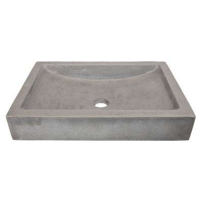 22 in. Shallow Wave Concrete Rectangular Vessel Sink in Dark Gray