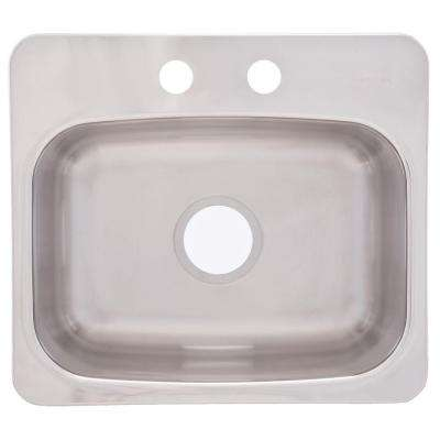 Drop-In Stainless Steel 19x17x8 2-Hole Single Bowl Bar Sink