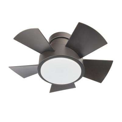 Vox 26 in. LED Indoor/Outdoor Bronze 5-Blade Smart Flush Mount Ceiling Fan with 2700K Light Kit and Wall Control