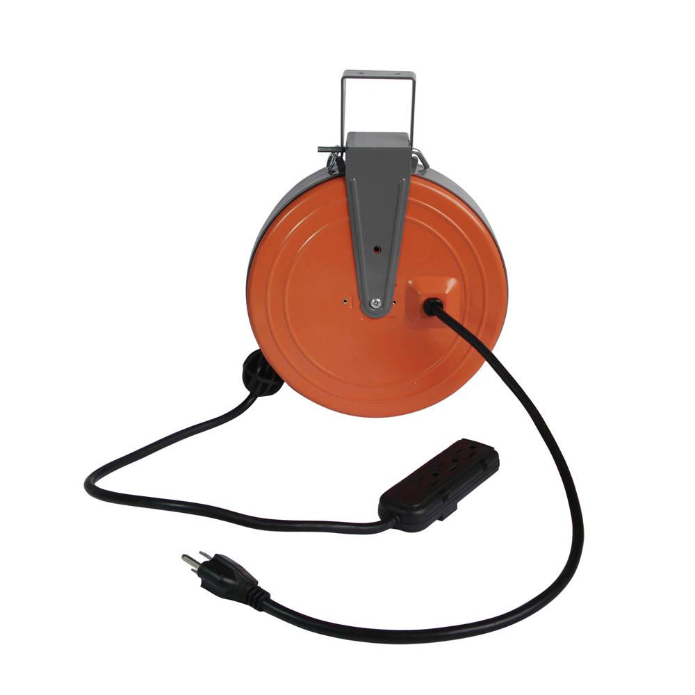 Retractable Extension Cord Reel >> Hdx 30 Ft 16 3 Heavy Duty Retractable Extension Cord Reel With 3