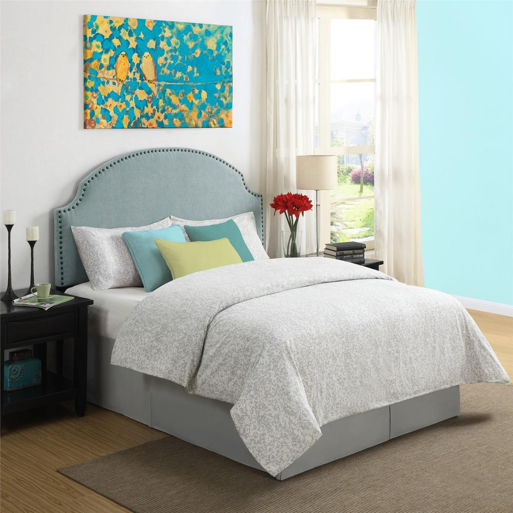 Kamden Turquoise Linen Full/Queen Headboard with Nailheads