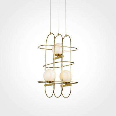 Lyra 60-Watt Integrated LED Antique Brass Chandelier with Glass Shade