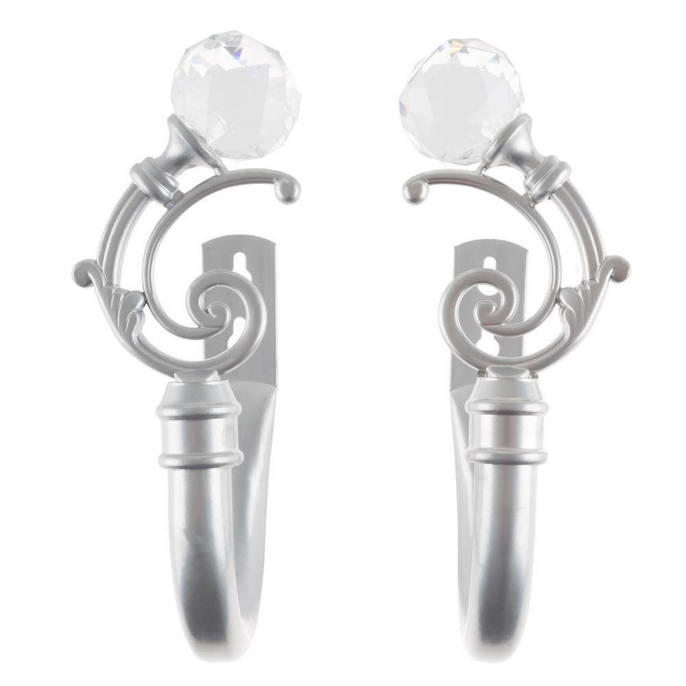 Crystal Ball Holdback Pair in Silver