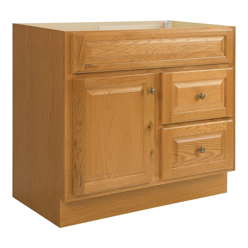 Glacier Bay Hampton 36 in. W x 21 in. D x 33.5 in. H Bath Vanity Cabinet Only in Oak