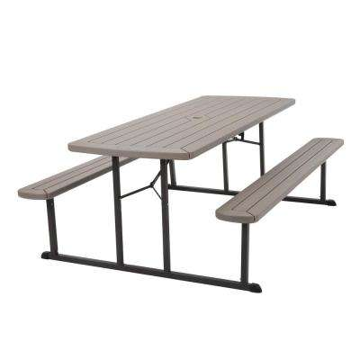 6 ft. Folding Blow Mold Picnic Table Gray Wood Grain with Brown Legs