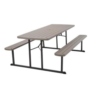 Cosco 6 ft. Folding Blow Mold Picnic Table Gray Wood Grain with Brown Legs by Cosco