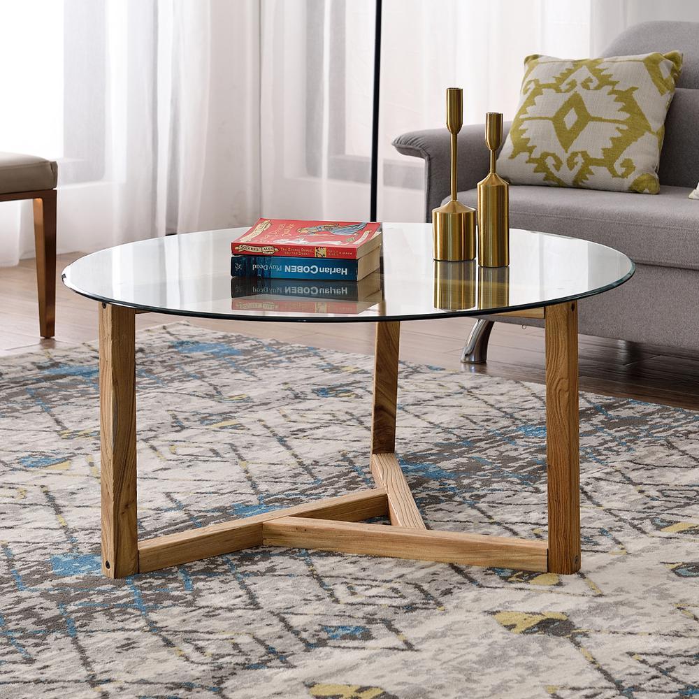 Harper Bright Designs Oak Round Tempered Gl Top Coffee