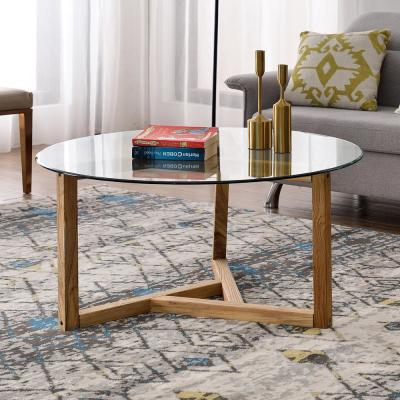 Oak Round Tempered Glass Top Coffee Table