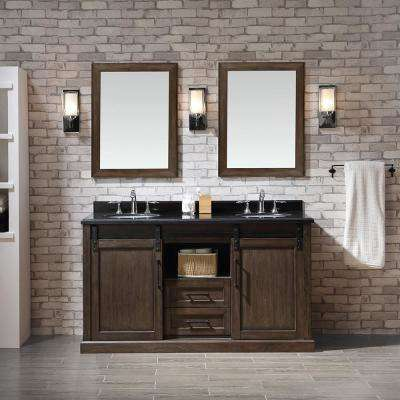Laredo 60 in. W x 22 in. D Vanity in Walnut with Granite Vanity Top in Black with White Basins