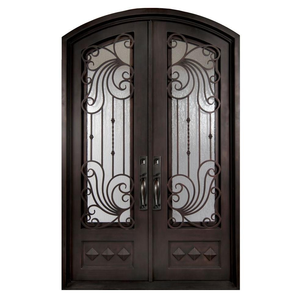 Iron doors unlimited 62 in x 82 in mara marea classic 3 4 lite painted oil rubbed bronze - Painting a steel exterior door model ...