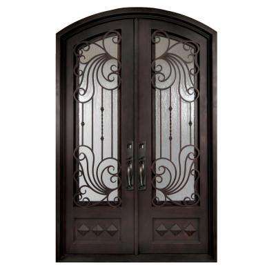 62 in. x 82 in. Mara Marea Classic 3/4 Lite Painted Oil Rubbed Bronze Wrought Iron Prehung Front Door