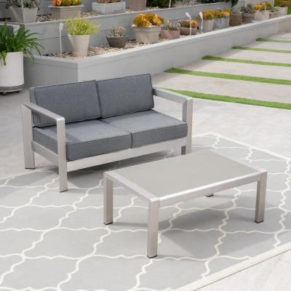 Alvira Silver 2-Piece Aluminum Patio Conversation Set with Grey Cushions