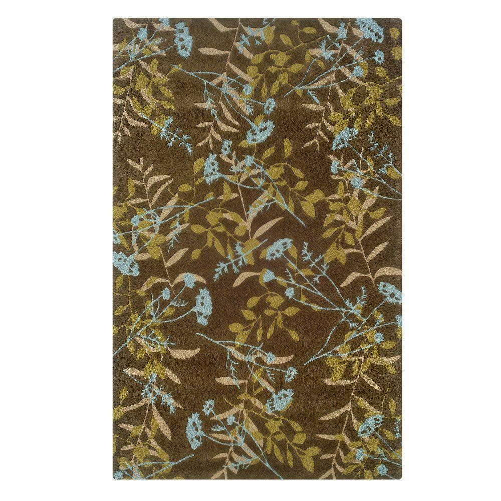 Linon Home Decor Trio Collection Chocolate and Spa Blue 5 ft. x 7 ft. Indoor Area Rug