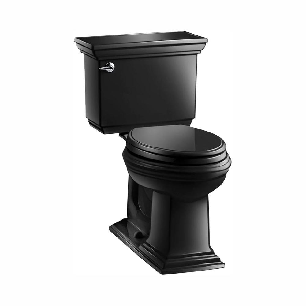 KOHLER Memoirs Stately 2-piece 1.28 GPF Single Flush Elongated Toilet with AquaPiston Flush Technology in Black Black