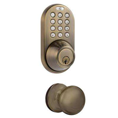 Antique Brass Keyless Entry Deadbolt and Door Knob Lock Combo Pack with Electronic Digital Keypad