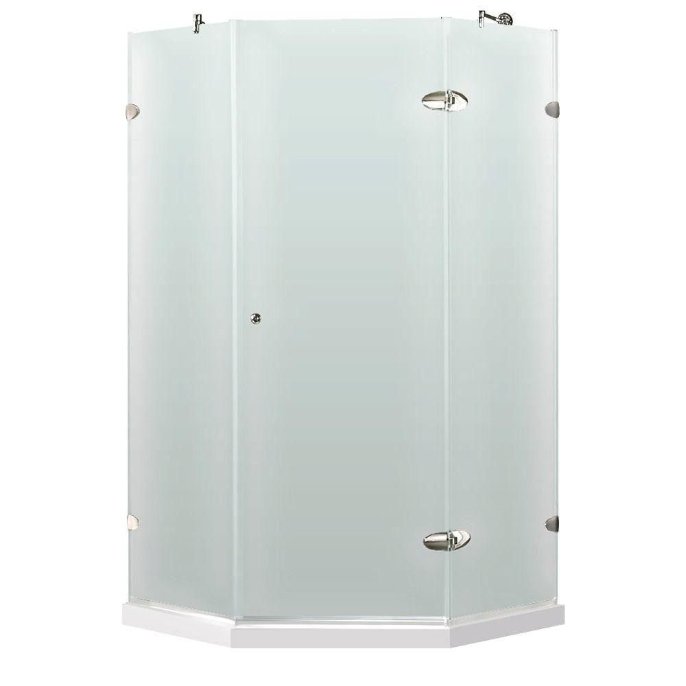 Vigo 42-1/8 in. x 42-1/8 in. x 76 in. Neo-Angle Shower Enclosure in Chrome with Frosted Left Door and Low-Profile Base