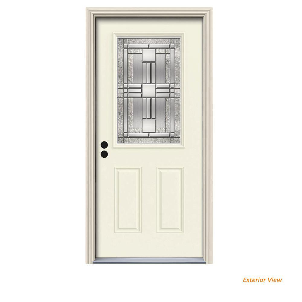 36 in. x 80 in. 1/2 Lite Cordova Vanilla Painted Steel Prehung Right-Hand Inswing Front Door w/Brickmould