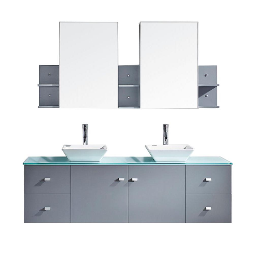 Virtu USA Clarissa 72 in. W Bath Vanity in Gray with Glass Vanity Top in Aqua with Square Basin and Mirror and Faucet