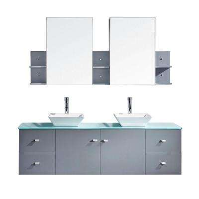 Clarissa 72 in. W Bath Vanity in Gray with Glass Vanity Top in Aqua with Square Basin and Mirror and Faucet