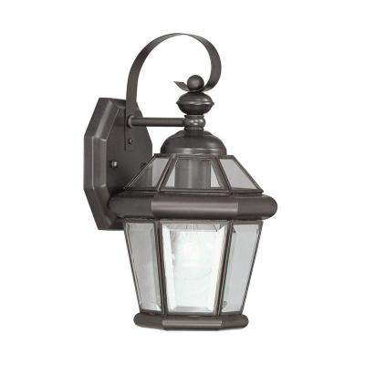 Wall-Mount 1-Light Bronze Outdoor Incandescent Lantern