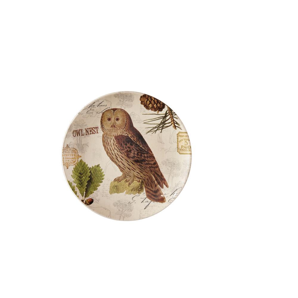 Wildlife Trail Tan Owl Salad Plate (Set of 4)