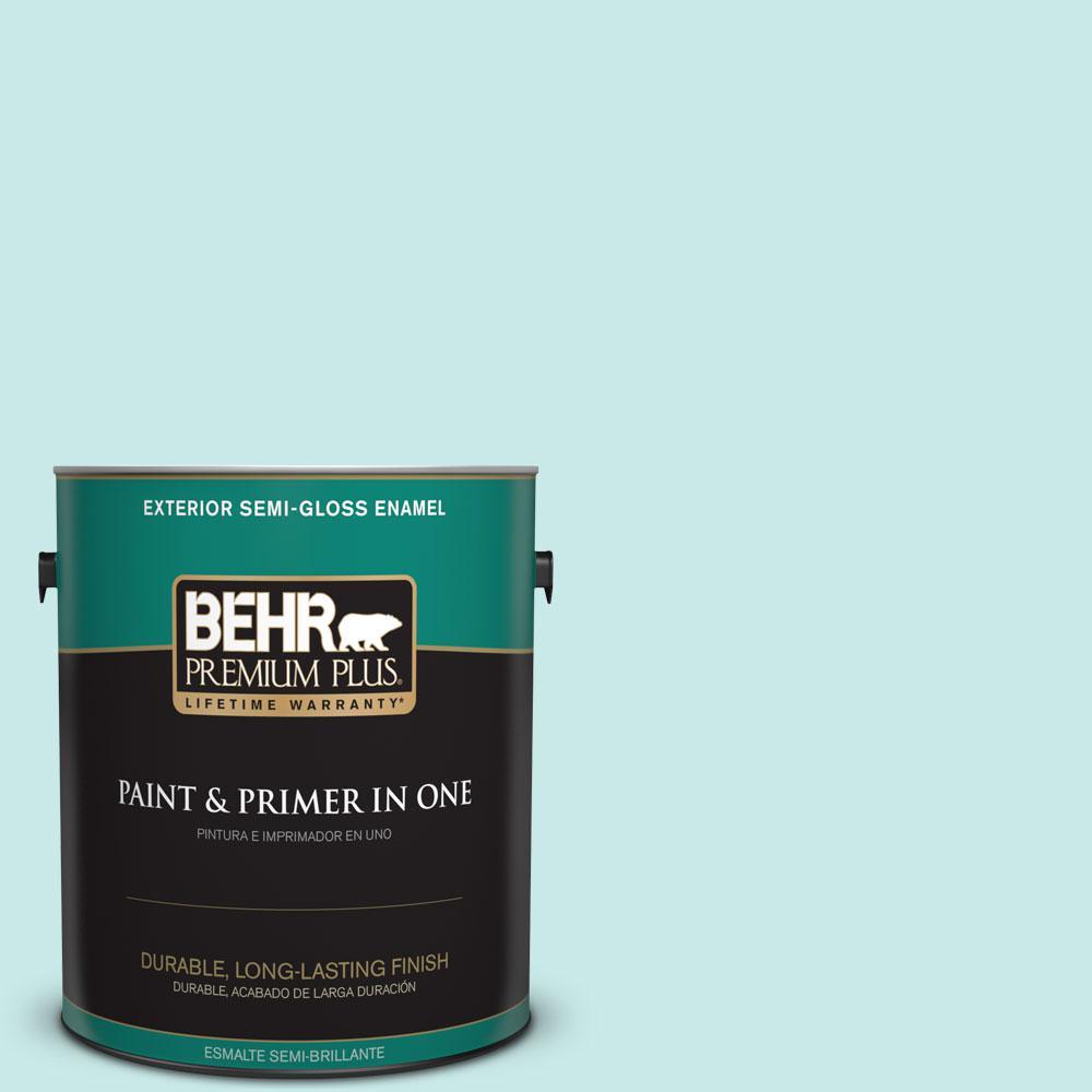 BEHR Premium Plus 1-gal. #M460-1 Tahitian Sky Semi-Gloss Enamel Exterior Paint