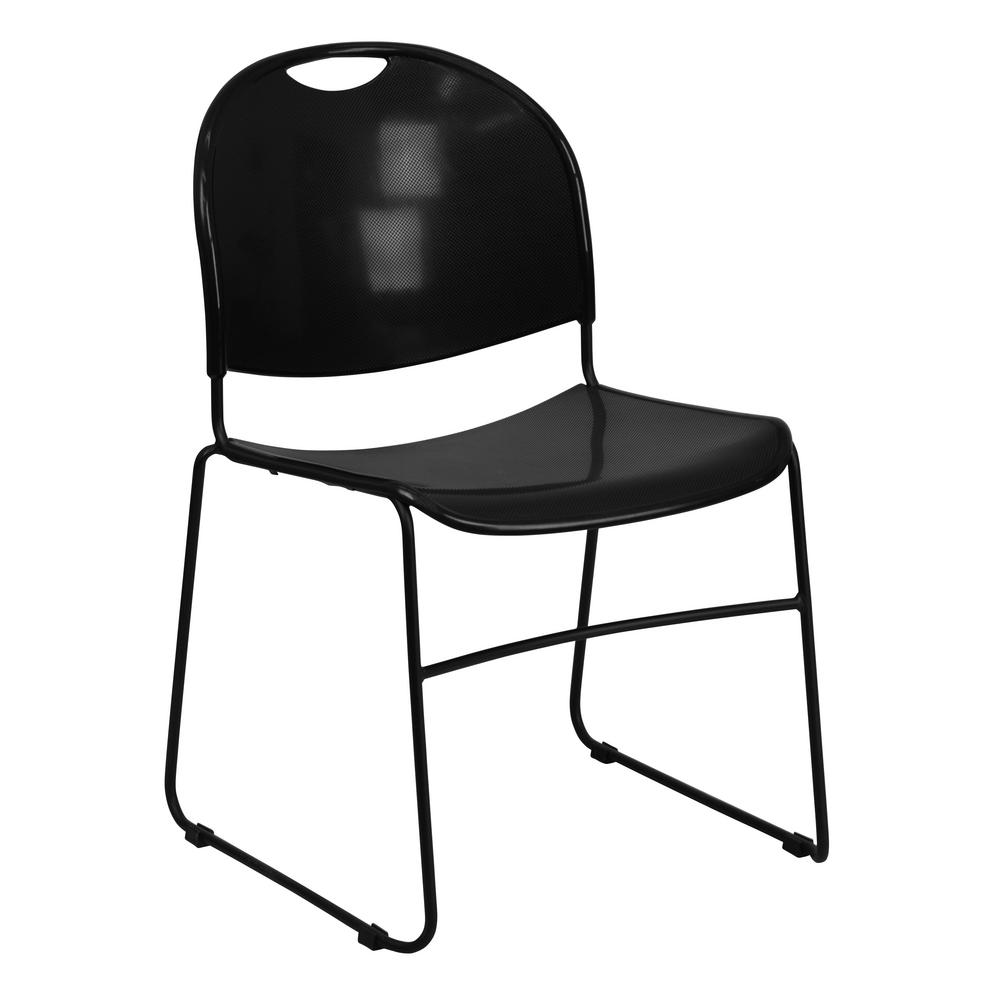 Gentil Hercules Series 880 Lb. Capacity Black Ultra Compact Stack Chair With Black  Frame