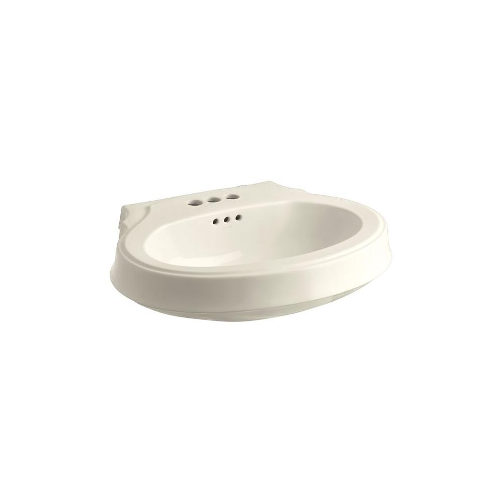 KOHLER Leighton 4-1/8 in. Pedestal Sink Basin in Almond-DISCONTINUED