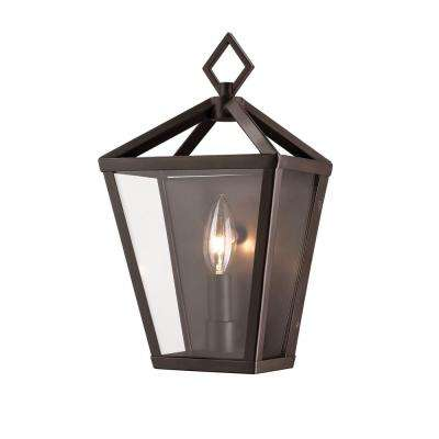 Single Light 12 in. Tall Powder Coated Bronze Outdoor Lantern Wall Sconce