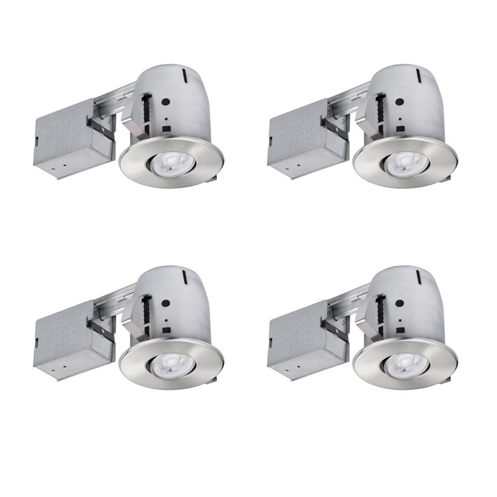 Globe Electric 4 in. Brushed Nickel LED IC Rated Swivel Spotlight Trim Recessed Lighting Kit Dimmable Downlight (4-Pack)