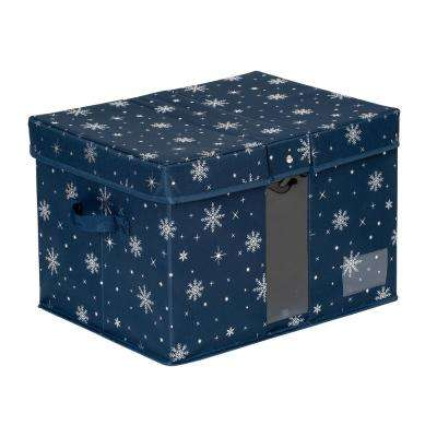 Navy Polyester Deluxe Holiday Storage Box
