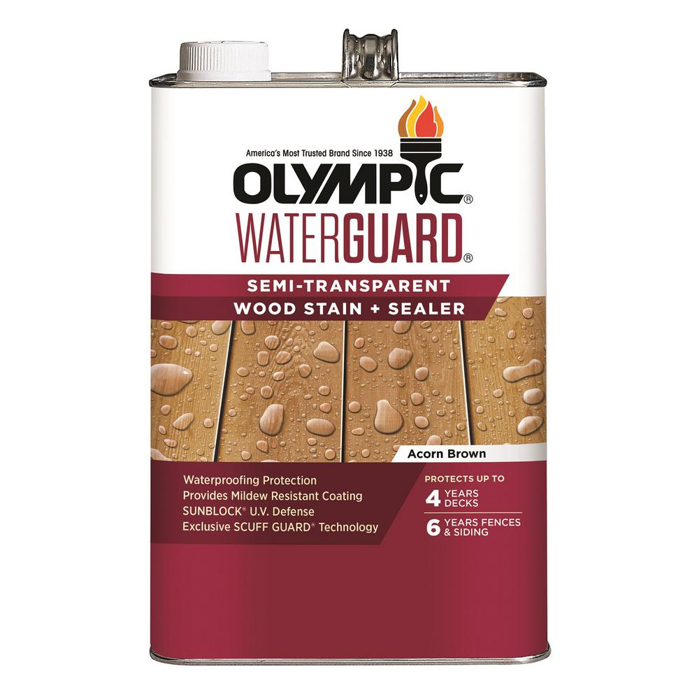 Olympic WaterGuard 1 gal. Acorn Brown Semi-Transparent Wood Stain and Sealer