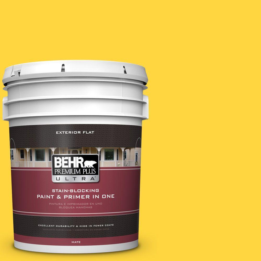 BEHR Premium Plus Ultra 5-gal. #380B-6 Lemon Tart Flat Exterior Paint