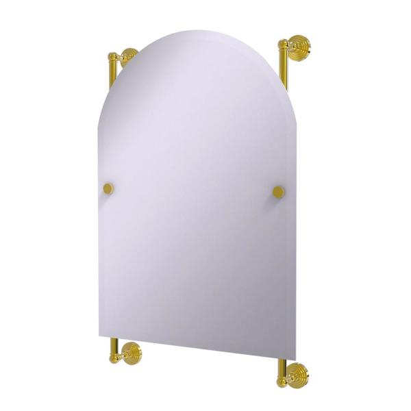 Waverly Place Collection 21 in. x 32 in. Arched Top Frameless Rail Mounted Mirror in Polished Brass